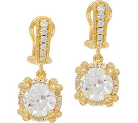 Judith Ripka 14K Clad 4.70 cttw Diamonique Drop Earrings