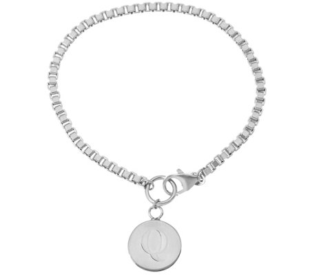 """As Is"" White Bronze Polished Initial Disc Bracelet by Bronzo Italia"