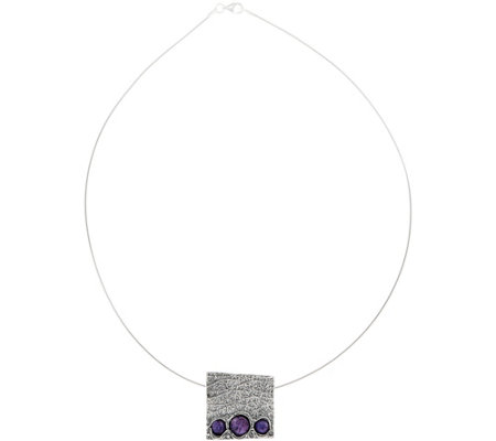 Or Paz Sterling Silver Charoite Square Pendant with Omega