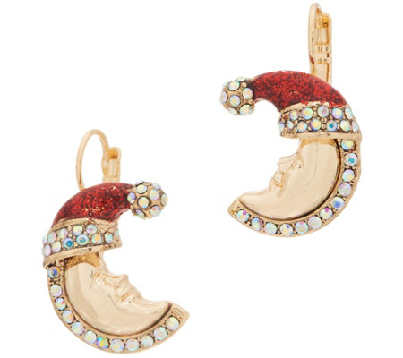 Kirks Folly Candy Cane New Moon Earring