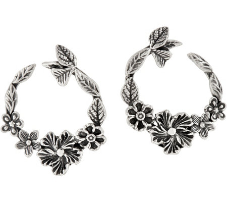 Or Paz Sterling Silver Floral Front to Back Hoop Earrings