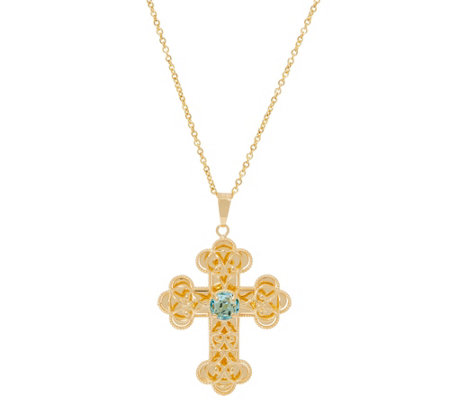 Italian Gold Gemstone Cross Pendant with Chain, 14K Gold