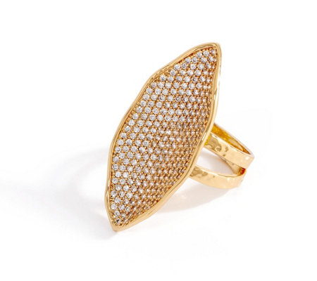 Melinda Maria Simulated Pave Gemstone Feather Ring - Kidman