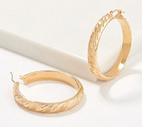 "Italian Gold 1-1/2"" Satin Twist Hoop Earrings 14K Gold - J356483"
