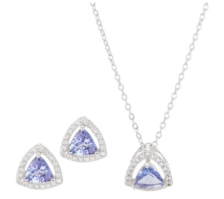 Tanzanite and White Topaz Earrings and Pendant with Chain, Sterling