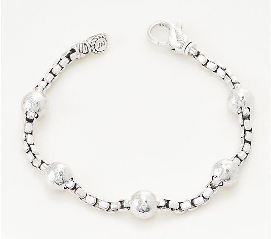 JAI Sterling Silver 3.7mm Hammered Bead Box Chain Bracelet, 13.2g