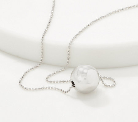 Italian Silver Polished Floating Bead Necklace