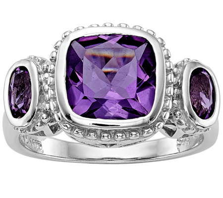 Sterling 4.30 cttw Amethyst & Diamond Accent Ring