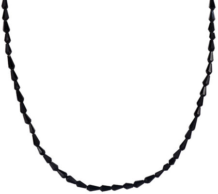 "Faceted Black Spinel Teardrop Bead 18"" Neckl ace"