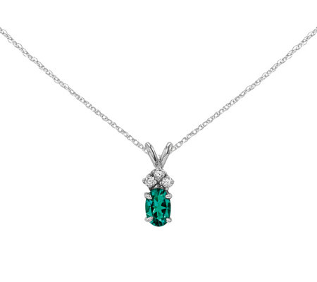 "14K Oval Gemstone & Diamond Pendant with 18"" Chain"