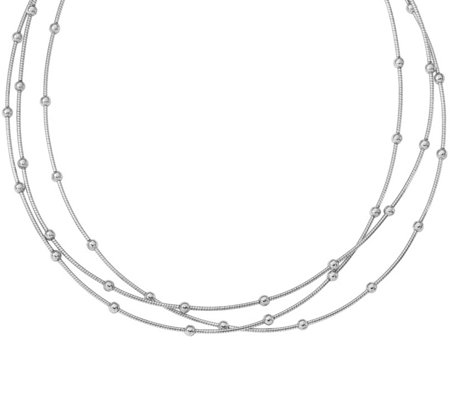 Sterling Beaded Three-Strand Necklace, 15.1g bySilver Style