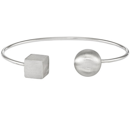 Sterling Bead Square Satin Cuff 6 5g By Silver Style