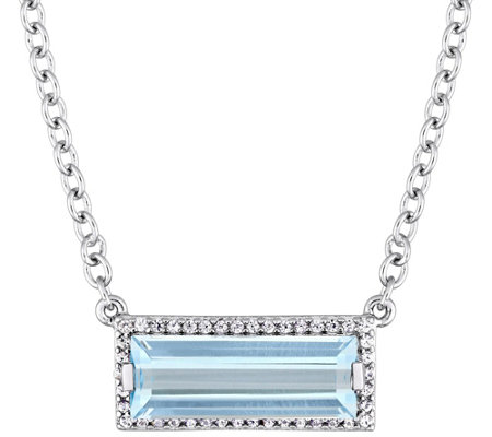 Sterling Silver 3.00 cttw Blue Topaz & White Sapphire Necklace
