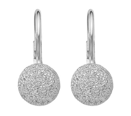 Italian Silver 8mm Textured Ball Leverback Earrings