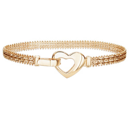 "Imperial Gold 7-1/4"" Wheat Heart Buckle Clasp Bracelet, 12.3g"