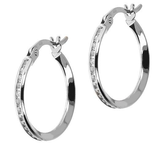 Diamonique 0 90 Cttw 5 8 Hoop Earrings 14k Gold Qvc Com