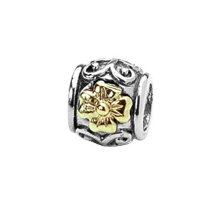 Prerogatives Sterling and 14K Gold Floral Bead