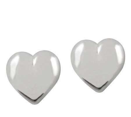 UltraFine Silver 10mm Heart-Shaped Button Earrings