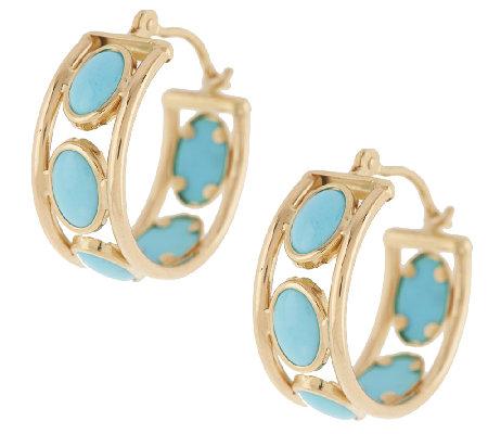 Sleeping Beauty Turquoise 3 4 Hoop Earrings 14k Gold
