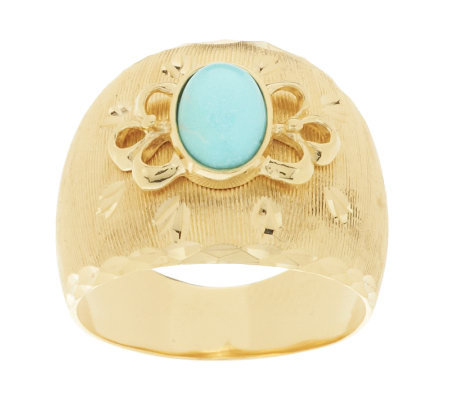 Veronese 18K Clad Oval Turquoise Diamond Cut Design Ring