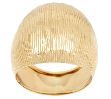 VicenzaGold Satin & Diamond Cut Domed Tapered Ring 14K Gold