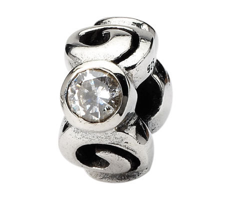 Prerogatives Sterling Cubic Zirconia Swirl Bead