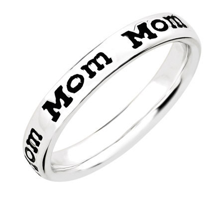 "Simply Stacks Sterling Enamel ""Mom"" Band Ring"