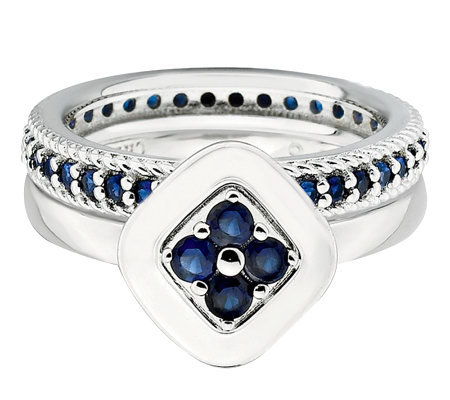 Simply Stacks Sterling Blistfully Blue Ring Set