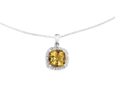 "Sterling Silver Cushion-Cut Gemstone Pendant w/18"" Chain"