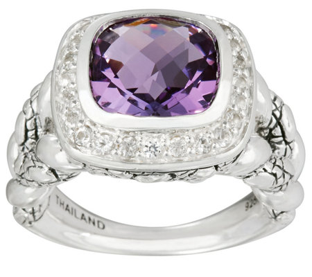 JAI Sterling Cushion Cut Amethyst Croco Texture Ring
