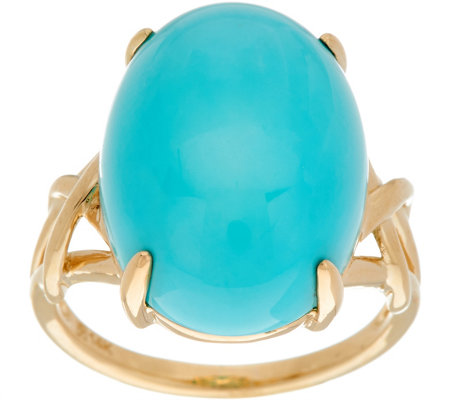 Oval Sleeping Beauty Turquoise Ring, 14K Gold