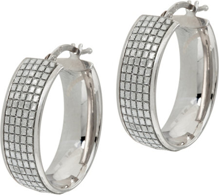 Italian Silver Glitter Oval Hoop Earrings, Sterling