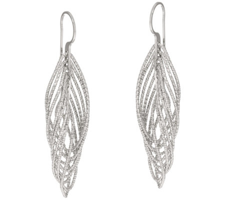 "Italian Silver Sterling Diamond Cut 2"" Twisted Earrings"