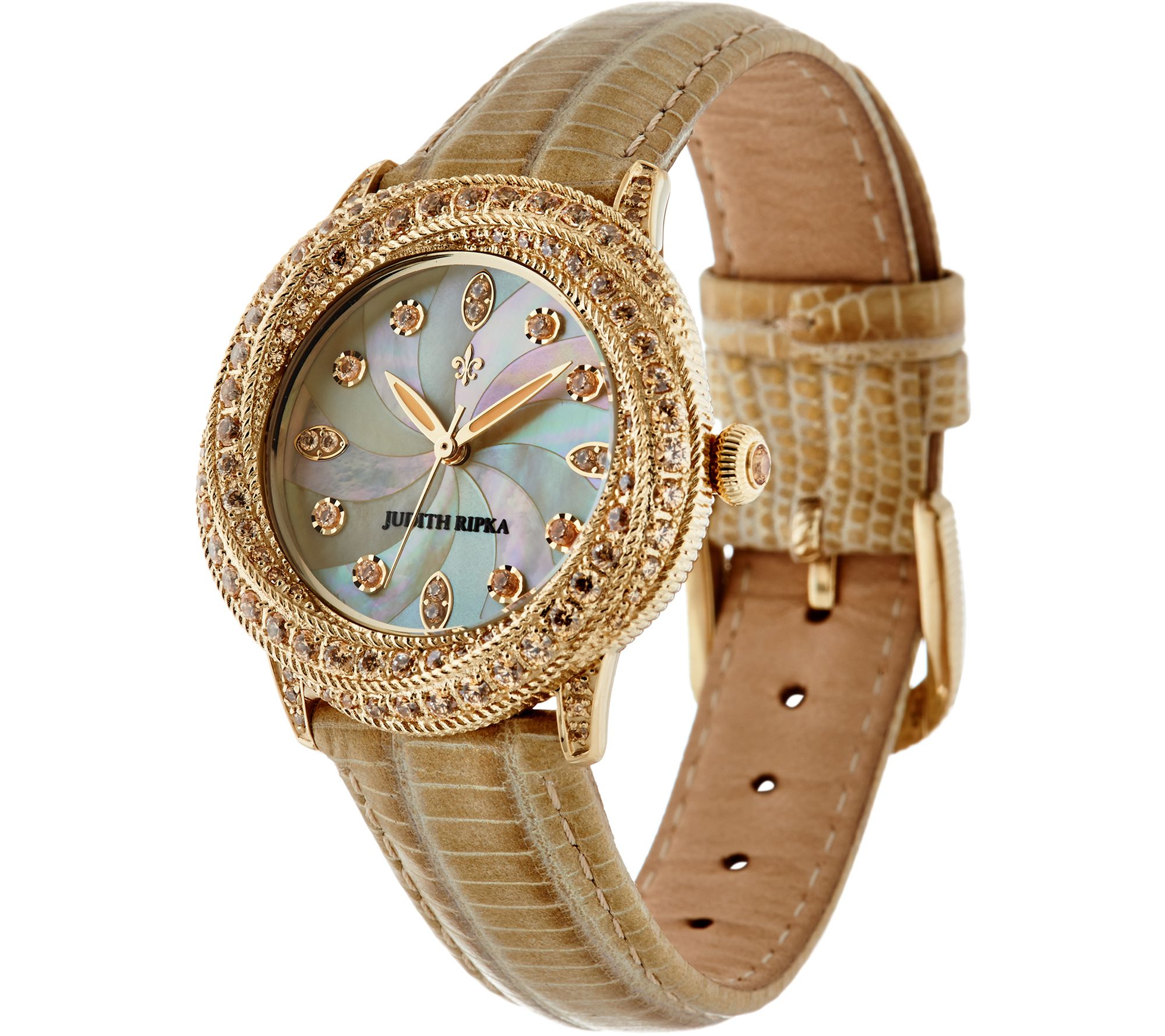 1541c77ec64 http   www.qvc.com Judith-Ripka-Stainless-Steel-Diamonique-Tempest-Leather- Watch.product.J348184.html