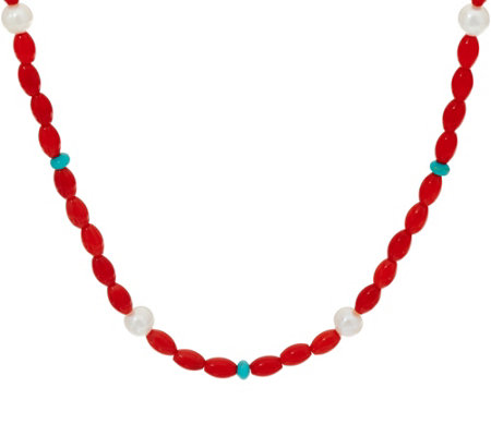 American West Cultured Pearl Turquoise and Coral Bead Necklace