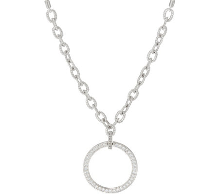 Diamonique Adjustable Circle Necklace, Sterling