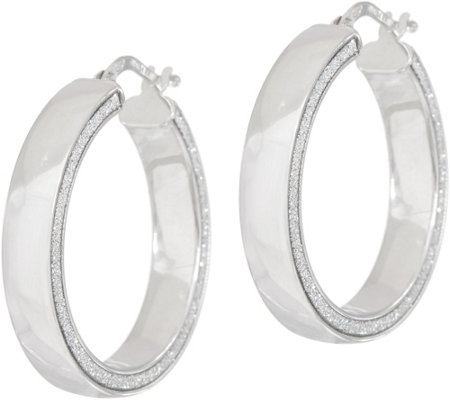 Italian Silver Polished Glitter Round Hoop Earrings Sterl.