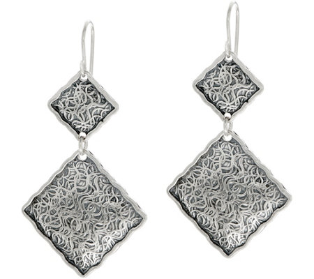 Or Paz Sterling Double Square Dangle Earrings