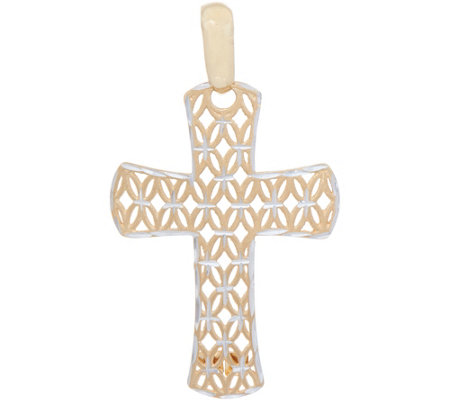 Italian Gold Two-tone Diamond Cut Cross Pendant 14K Gold 1.8g