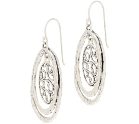 Or Paz Sterling Silver Filigree & Hammered Dangle Earrings