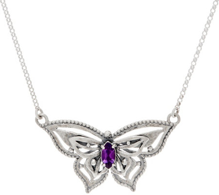 Or Paz Sterling Silver Gemstone Butterfly Necklace