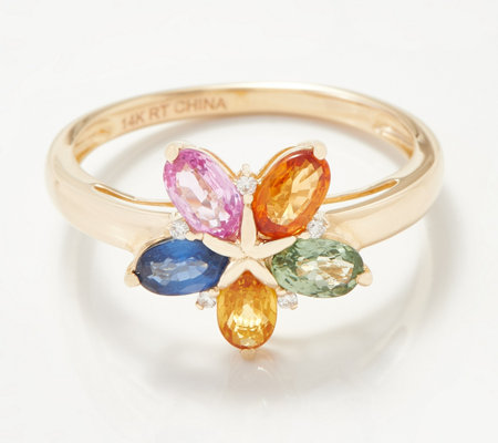 14k Gold Colors Of Sapphire Diamond Ring 1 25 Cttw