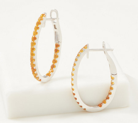 Gemstone Inside Out Oval Hoop Earrings 1 50 Cttw