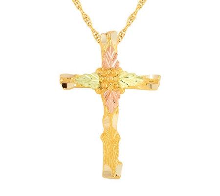 Black Hills Cross Pendant W Chain 10k 12k