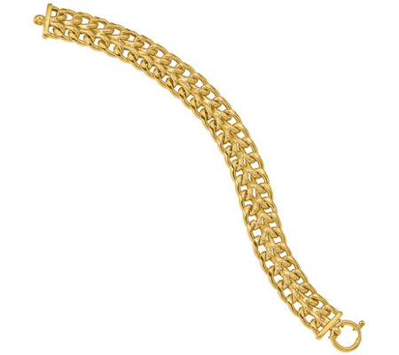 Italian Gold Double Curb & Textured Link Bracelet 14K, 13.9g