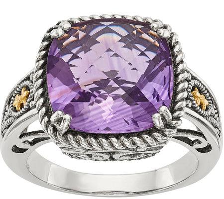 Sterling 14k Cushion Cut Gemstone Ring