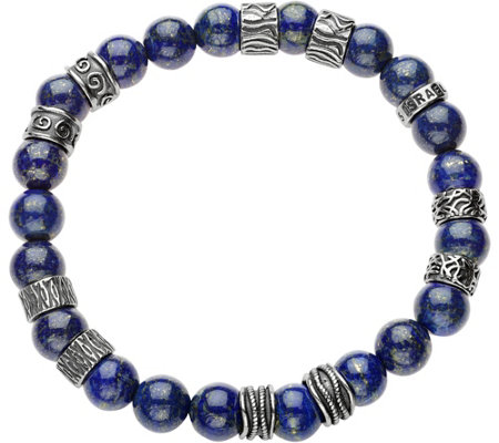 Or Paz Sterling Men's Gemstone Bead Bracelet