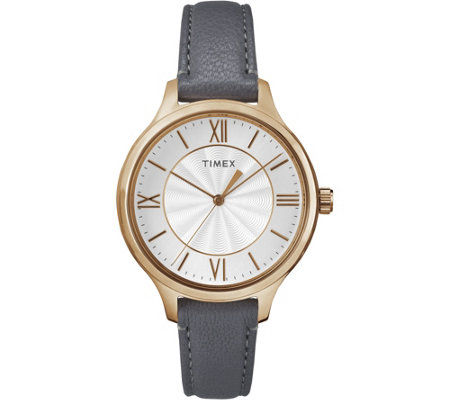 Timex Women's Peyton Gray Leather Strap Watch
