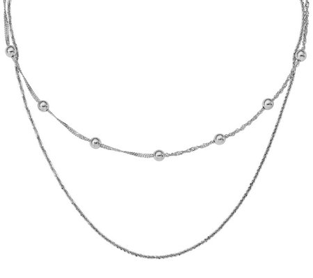Italian Silver Layered Beaded Choker Necklace Sterling, 5.1g