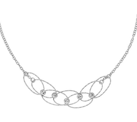 Italian Silver Oval Links & Beads Necklace, Sterling, 5.6g